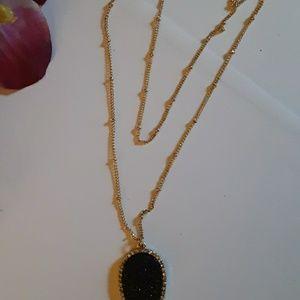 BaubleBar Jewelry - Dainty Double Chain Druzy Pendant Necklace